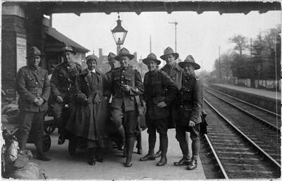 World War I (WWI) New Zealand soldiers at railway station in United Kingdom