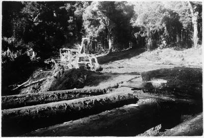 Bush logging - tractor and grabber