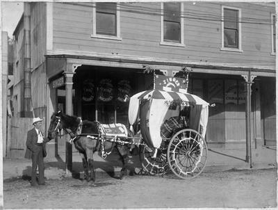 Decorated buggy. Singer sewing machines shop? Reefton