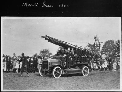 Fire brigade display at Mardi Gras 1921