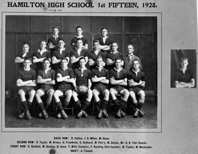 Hamilton High School First XV (fifteen) 1928