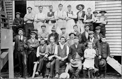 Staff of Ellis and Burnand joinery factory Hamilton 1903