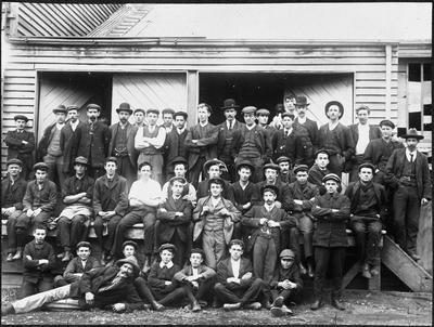 Staff of Ellis and Burnand joinery factory Hamilton 1912