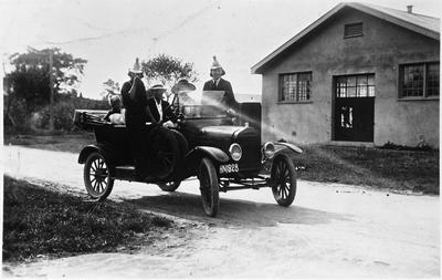 Members of the Hamilton Fire Brigade in a motor vehicle (Model T Ford)