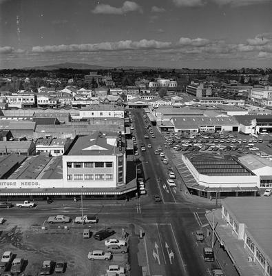 Aerial view from junction of Collingwood and Alexandra Streets looking south