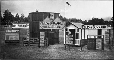 Ellis & Burnand - show display - outdoors display of silo, huts, shelter, shed etc.