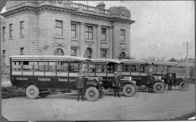 Bus fleet in front of Government Buildings