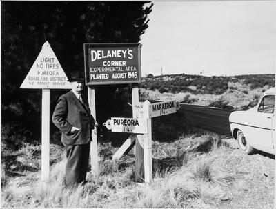 A H Delaney at Delaney's corner, 1958