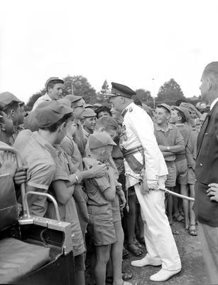 Governor-General, His Excellency Sir Bernard Edward Fergusson, meeting Hamilton school boys
