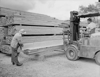 Loading timber planks onto a pile