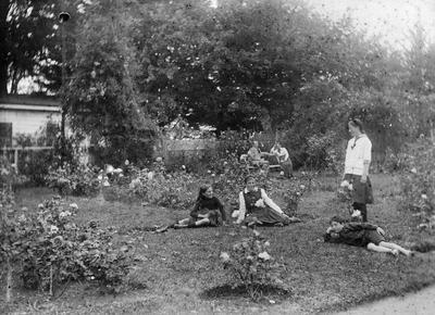 Douglas family in the garden of Hockin House