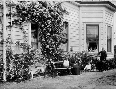 Douglas family outside Hockin House