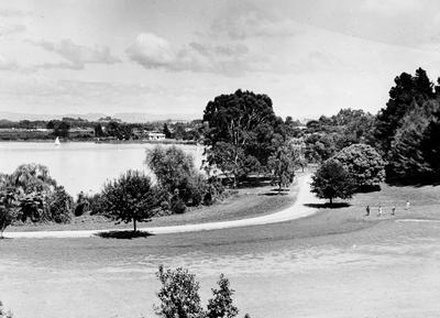 View across Hamilton Lake from Golf course