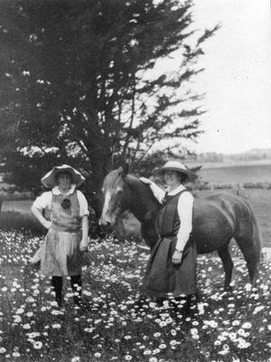 Members of the Douglas family with a horse
