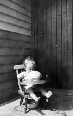 Child on potty chair