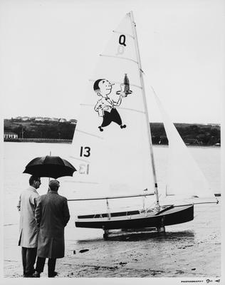 Waikato Breweries' Willie the waiter image on yacht's sail