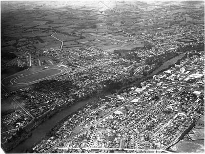 Aerial view of Hamilton: City, Waikato River and Claudelands