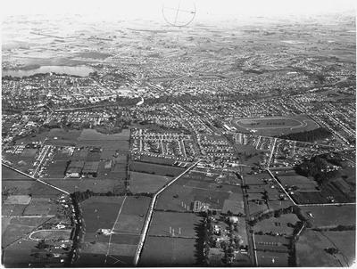 Aerial view of Hamilton: Ruakura and Hillcrest