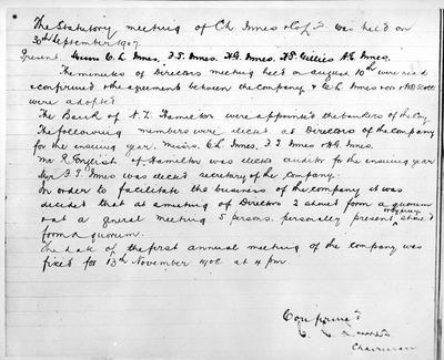 Minutes of C L Innes and Co. Ltd meeting held on the 30th of September 1907