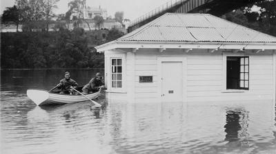 Hamilton Branch Office of Roose Shipping Co Ltd, during flood