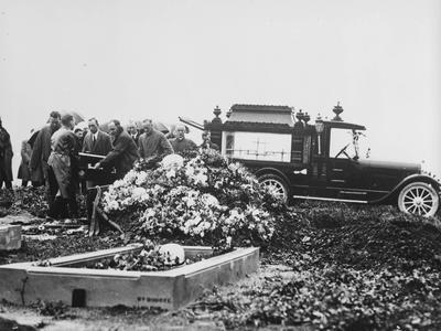 Hearse at cemetery