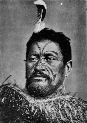 A tattooed Maori Warrior