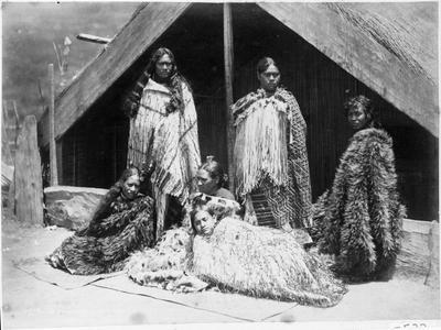 Maori group outside whare, Tokaanu, Lake Taupo