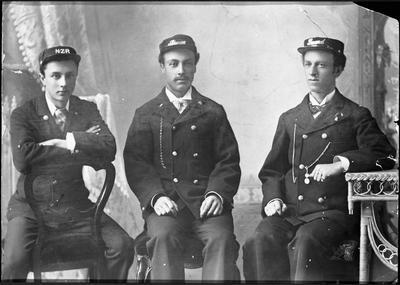 Percy, Arthur and Fred Auger in NZ Uniform