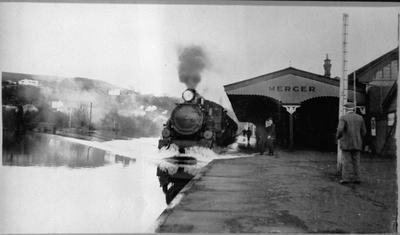 Train at Mercer Station during flood
