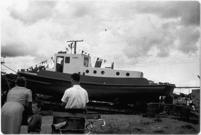 M V Kowhai prior to launching - Mercer