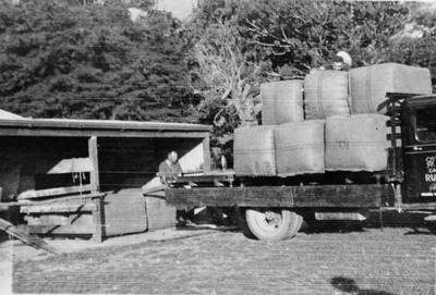 Loading wool on truck