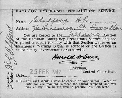 Hamilton E.P.S. Welding Section Certificate