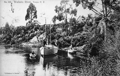 Boats on Waikato River at Taupo