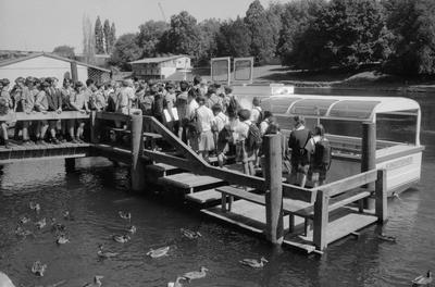 Schoolchildren board the Kingfisher ferry at Memorial Park