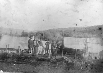 Survey party at Waitete Camp, Te Kuiti