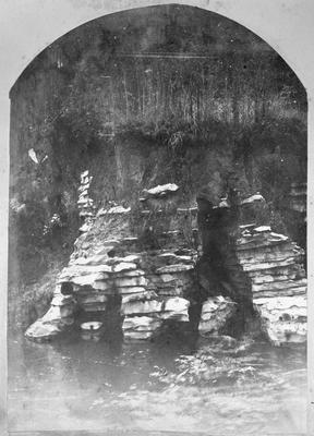 Limestone cliff and cave formation