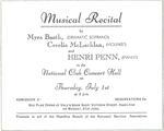 Musical Recital advertisement, 1943