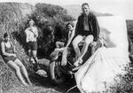 Douglas family on holiday up north: Car and family at Ruakaka