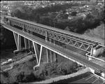 Bird's eye view of the original Hamilton railway bridge and the new railway bridge