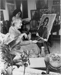 Ida Carey working on a portrait