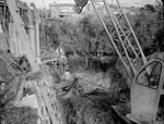 Excavation for the new, lower, railway bridge