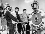 Beer being taken onto the HMNZS Waikato by a crew member