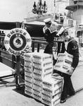 Beer being taken onto the HMNZS Waikato