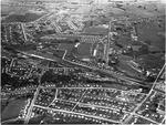 Aerial view of Hamilton: Maeroa, Frankton and railway